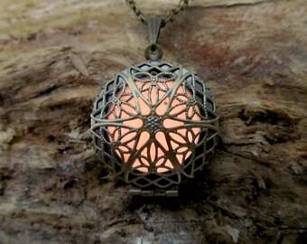 Steampunk Antique Gold Glow In The  Dark Necklace
