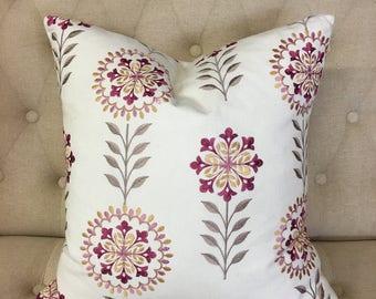"Raspberry Gardenia 20""x20"" Pillow Cover"