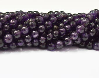 AAA Quality Natural Amethyst Smooth Round Beads  / 8.0-10.0 mm / 15 inch