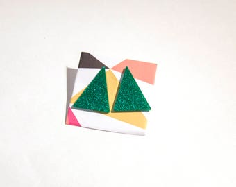 Retro 80s Green Triangle Stud Earrings - laser cut acrylic