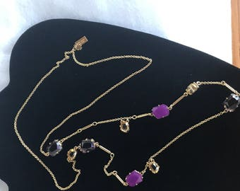 """Kate Spade New York Goldtone Necklace – Faceted Amethyst and  Gemstones – 31"""" long"""
