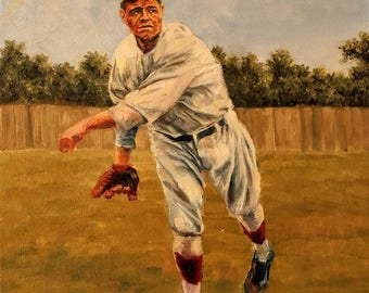 Babe Ruth original oil painting