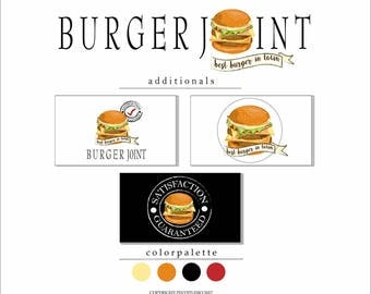 Premade Burger logo. Premade logo. Business card