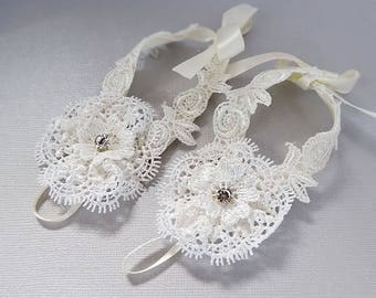 Silver  Rhinestone White Lace barefoot sandals  for bright day  special Party S-01