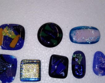 Blue fused glass pieces