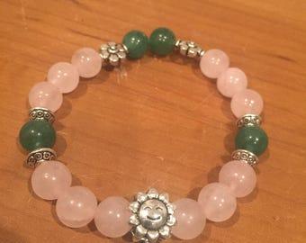 Rose quartz sunflower bracelet