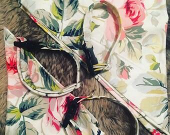 Custom Handmade Dog Collar and Matching Bandana in Classic Floral Print!