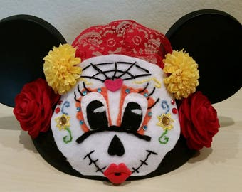 Minnie Mouse Day of the Dead Ears hat Sugar skull