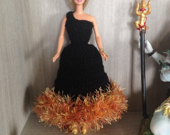 Evening dress Barbie crochet with petticoat