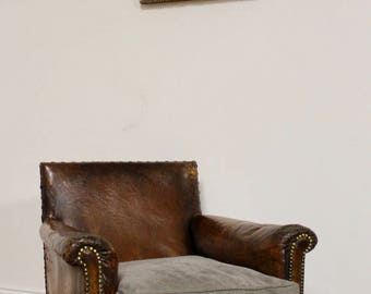 SOLD Vintage Antique French Leather Club Chair