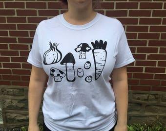 White Happi Veggies T-shirt with Black Print