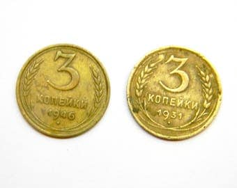 Vintage 1931 and 1946 Soviet Russian coin. 3 kopecks. Set 2 coins of the USSR.
