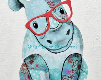 Rhinoceros Art Print. Hipster Rhino. Turquoise Rhino. Nursery Decor. Kids Room Decor. Rhino Art. Nursery Art. Turquoise Rhinoceros. Gift Art