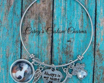 Dog / Puppy Memorial Bracelet, Custom Photo Charm , Paw Print, Pet Sympathy Gift, Always In My Heart, Keepsake, Angel Wing & Bone, Pet Loss