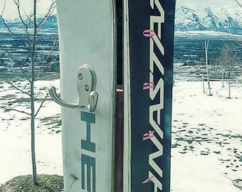 Vintage Towel Rack Made from Skis