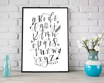 Alphabet Soup - hand lettered downloadable print