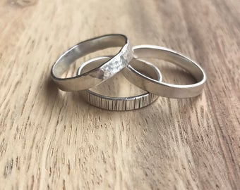 Sterling Silver Stacking Rings - THREE