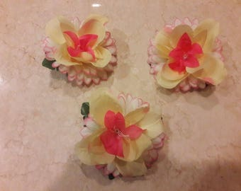 Pink & Yellow Floral Hair Clip