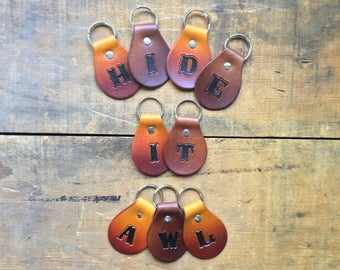 Handmade Leather Key Fob w/ Letter (((customizable))) Hand Cut & Stained