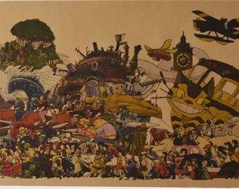 Studio Ghibli all characters vintage poster, Hayao Miyazaki, Tororo, Spirited Away, Mononoke, Totoro, Howl's Moving Castle