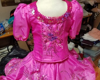 Hot Pink pageant dress, ready to ship. 2 piece with lace up back.