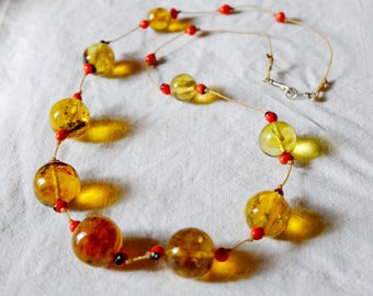 Necklace amber and seeds of the virgin forest - honey Solecitos