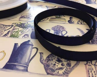 Grosgrain ribbon, navy, 10mm wide, by 5m length