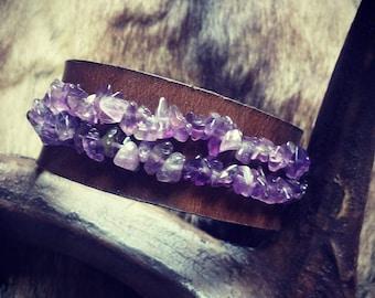 Leather Bracelet Amethyst