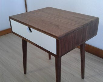 Bedside table Walnut/oak solid 1CB Mind Century