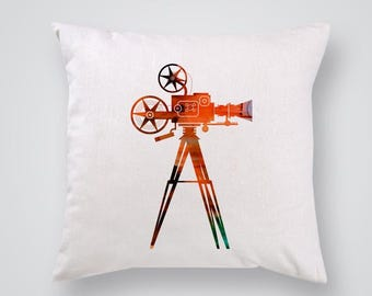 Movie Camera Pillow Cover Throw Pillow Home Decor