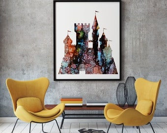 Castle Print Art Poster Fortress Illustration Home Decor