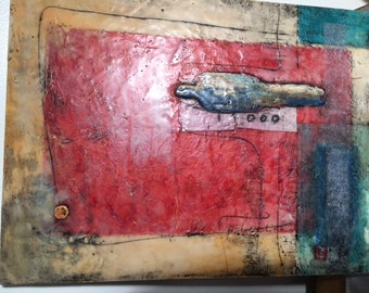 Original Art - Large Encaustic Collage -- Encaustic, oil, collage, charcoal. Title: Man Alone.Source.