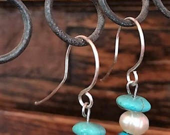 Turquoise and freshwater pearl drop earrings