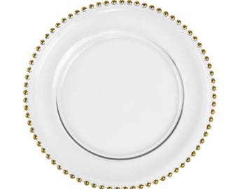 Gold/Silver Beaded Clear Glass Charger Plate, 8/pack