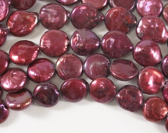 Cranberry Red Coin Pearl Size 10 to 12 mm Genuine Freshwater Pearl, Pink Coin Freshwater Pearls, Freshwater Coin Pearl (60-CPP1012)