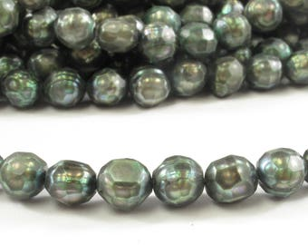 6.5 to 7 mm Gold OR Forest Green Faceted Freshwater Pearl Beads , Genuine Potato Freshwater Pearls, Faceted Pearl Beads (173-FCMIX06570)