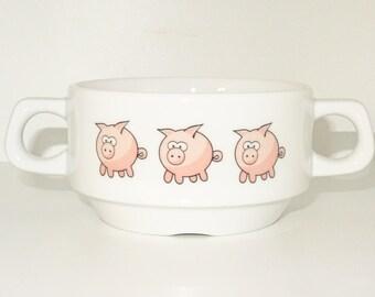 Soup Bowl , 1 pcs, pig piggi soup bowl small baby child kids , Bottom, hidden message, secret message, Soup Bowl, porcelain