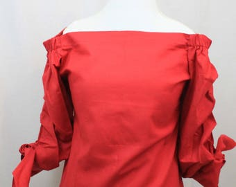 Red Linen off-shoulder blouse, 3/4 sleeves, women's, size M