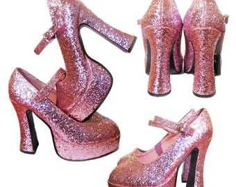 Fabulous 70's electric pink glitter platform shoes size 5.5