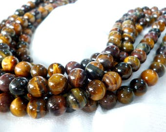 Natural Round Smooth Red Tiger Eye Beads /Minerals/ Strand