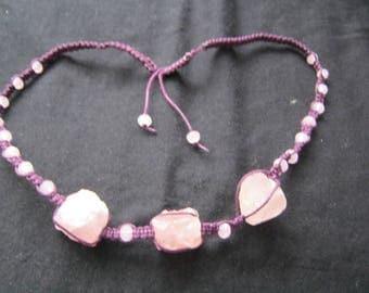 22 to 28 in rose quartz necklace