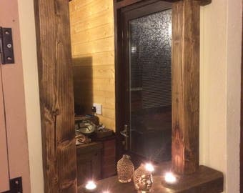 Bespoke hand reclaimed wood made mirror