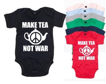 Make Tea Not War Baby Bodysuit