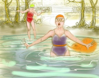 greetings card: wild swimming in Cumbria, 'It's always colder in Ullswater'. Open water swimming, funny swimmers
