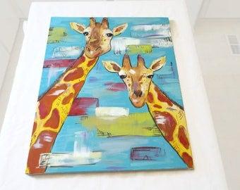 Giraffe Painting - Giraffes Oil Painting - Original Painting of Giraffes - Mom and Baby Giraffe - Giraffe Theme - Nursery Wall Art - Giraffe