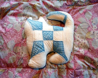 Blue White Quilted Cat Pillow Homemade Throw Decorative Pillow Stuffed Animal Cat Kitschy Vintage Soft Patchwork Folk Folksy Handmade