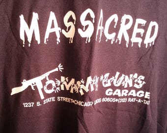 "80s Screen Stars Funny Restaurant Black Soft Tee Sz Large ""I Got Massacred Tommy Guns Garage"" Graphic Promo Novelty Father's Day Mobster Mob"