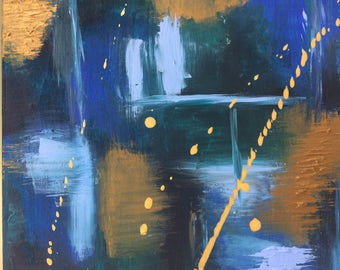 Abstract gold and blue original painting