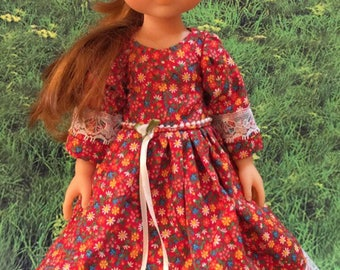 Corolle Les Cheries Doll Dress Floral Frock Clothes with Pearls and Lace