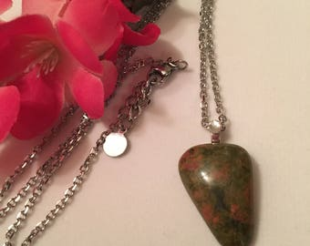 Necklace chain stainless steel with pendant unakite, free shipping!